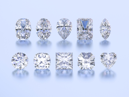 3D illustration ten different white gemstones diamonds stones on a blue background Stock Photo