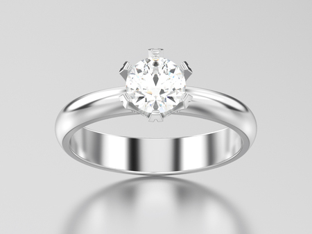 3D illustration white gold or silver solitaire engagement diamond ring on a gray background Stock Photo