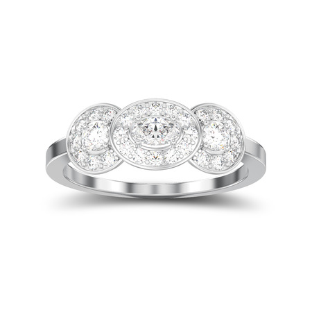 3D illustration isolated white gold or silver three stone solitaire engagement ring with shadow on a white background Stock Photo