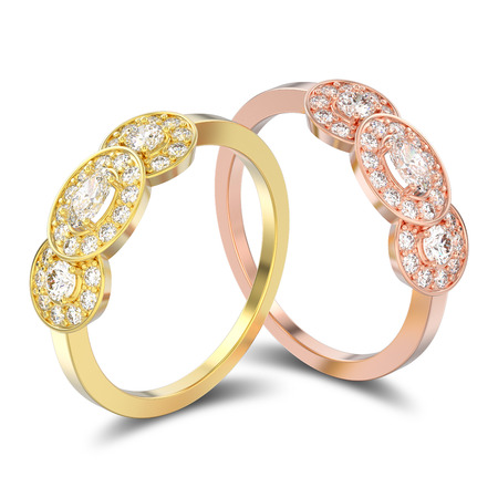 3D illustration isolated two rose and yellow gold three stone solitaire engagement rings with shadow on a white background