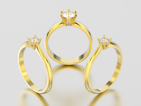 3D illustration three different yellow gold engagement diamond rings on a gray background Stock Photo