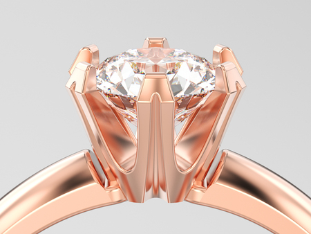 3D illustration close up rose gold traditional solitaire engagement diamond ring on a gray background