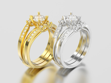 3D illustration two yellow and white gold or silver two shanks decorative diamond rings on a gray background