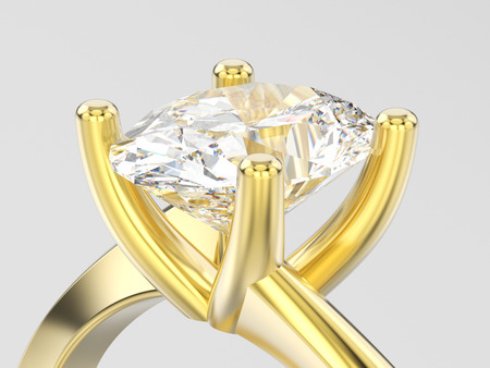 3D illustration close up yellow gold engagement illusion twisted ring with diamond on a gray background Stock Photo