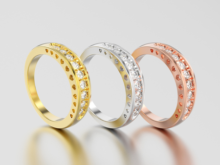 3D illustration three different yellow, rose and white gold or silver decorative diamond ring with hearts ornament on a gray background