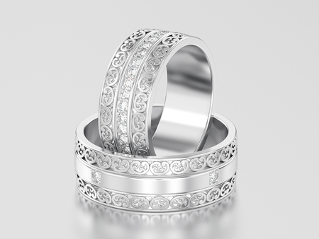 3D illustration two white gold or silver decorative wedding bands carved out rings with ornament on a gray background