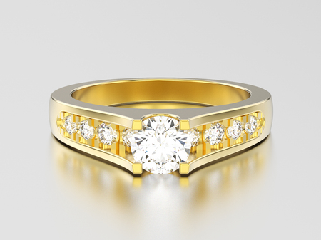 3D illustration yellow gold decorative engagement wedding diamond ring on a gray background