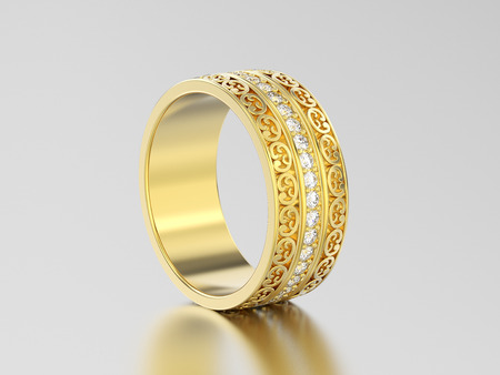 3D illustration yellow gold decorative wedding bands carved out ring with ornament on a gray background