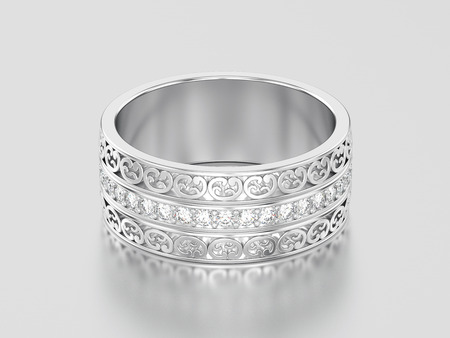 3D illustration white gold or silver decorative wedding bands carved out ring with ornament on a gray background