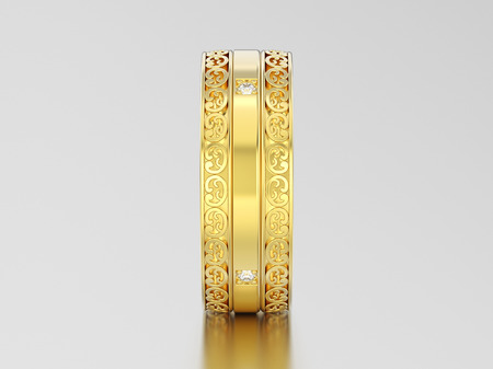 3D illustration yellow gold decorative wedding bands carved out ring with ornament and diamonds on a gray background