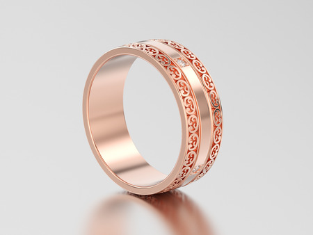 3D illustration rose gold decorative wedding bands carved out ring with ornament on a gray background Stock Photo