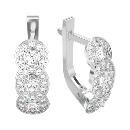 3D illustration isolated white gold or silver three stone solitaire diamond earrings with hinged lock on a white background