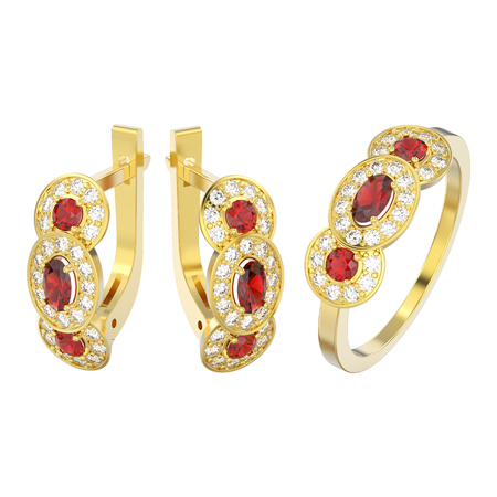 3D illustration isolated set of yellow gold decorative diamond ruby earrings with hinged lock and three ruby stone solitaire engagement ring on a white background