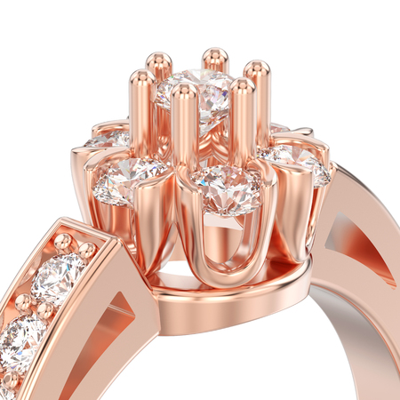 3D illustration isolated close up rose gold decorative flower diamond ring on a white background Archivio Fotografico