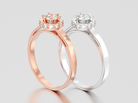 3D illustration two rose and white gold or silver halo bezel pave diamond rings on a gray background Stock Photo
