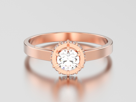 3D illustration rose gold halo bezel pave diamond ring on a gray background