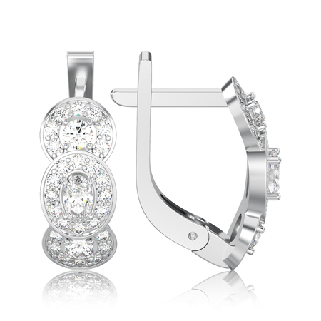 3D illustration isolated white gold or silver three stone solitaire diamond earrings with hinged lock with reflection on a white background Stock Photo