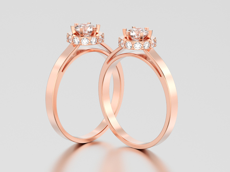 3D illustration two rose gold halo bezel pave diamond rings on a gray background