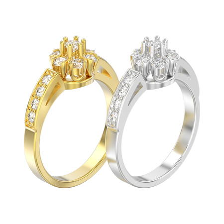3D illustration isolated two yellow and white gold or silver decorative flower diamond rings on a white background