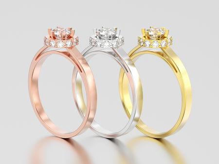 3D illustration three rose, yellow and white gold or silver halo bezel pave diamond rings on a gray background