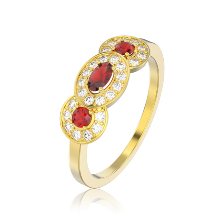 3D illustration isolated three ruby stone solitaire engagement ring with reflection on a white background