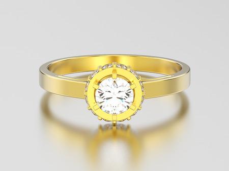 3D illustration yellow gold halo bezel pave diamond ring on a gray background Stock Photo