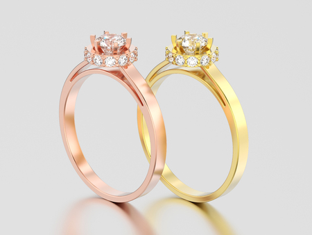 3D illustration two yellow and rose gold halo bezel pave diamond rings on a gray background