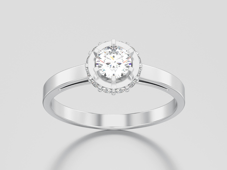 3D illustration white gold or silver halo bezel pave diamond ring on a gray background