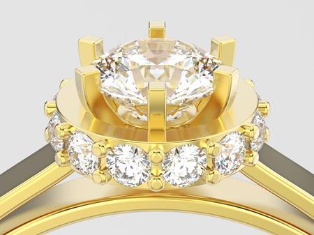 3D illustration close up yellow gold halo bezel pave diamond ring on a gray background Stock Photo