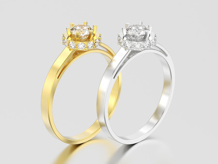 3D illustration two yellow and white gold or silver halo bezel pave diamond rings on a gray background