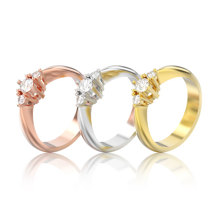 3D illustration isolated three rose, yellow and white gold or silver three stone diamond rings with reflection on a white background