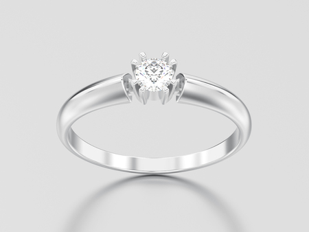 3D illustration white gold or silver engagement solitaire double prong basket diamond ring on a gray background Фото со стока - 96851274