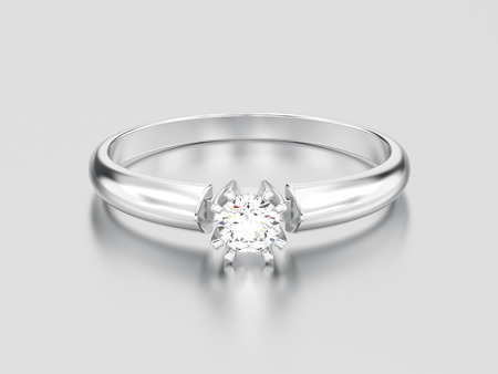 3D illustration white gold or silver engagement solitaire double prong basket diamond ring on a gray background