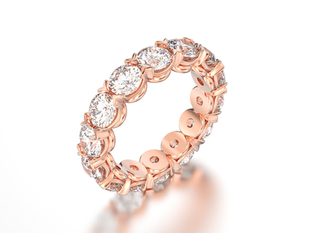 3D illustration rose gold diamond eternity ring on a gray background