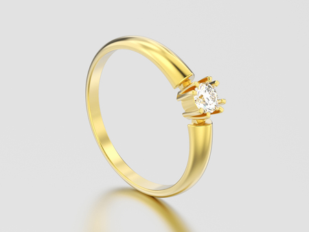 3D illustration yellow gold engagement solitaire double prong basket diamond ring on a gray background Stock Photo