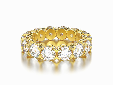 3D illustration yellow gold diamond eternity ring on a gray background Stock Photo