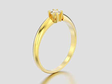 3D illustration yellow gold engagement solitaire double prong basket diamond ring on a gray background Фото со стока - 96706243
