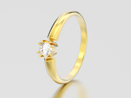 3D illustration yellow gold engagement solitaire double prong basket diamond ring on a gray background Фото со стока