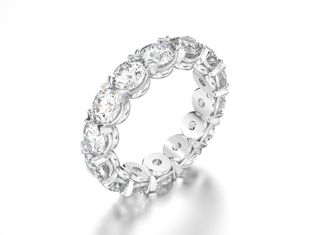 3D illustration white gold or silver diamond eternity ring on a gray background
