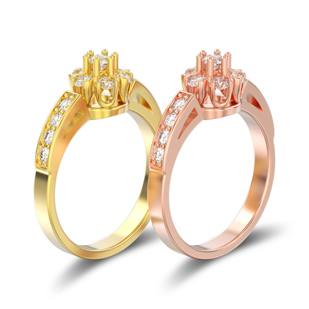 3D illustration isolated two rose and yellow gold decorative flower diamond rings with shadow on a white background