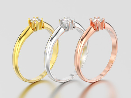 3D illustration three yellow, rose and white gold or silver engagement solitaire double prong basket diamond rings on a gray background