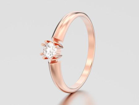 3D illustration rose gold engagement solitaire double prong basket diamond ring on a gray background