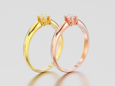 3D illustration two rose and yellow gold engagement solitaire double prong basket diamond rings on a gray background