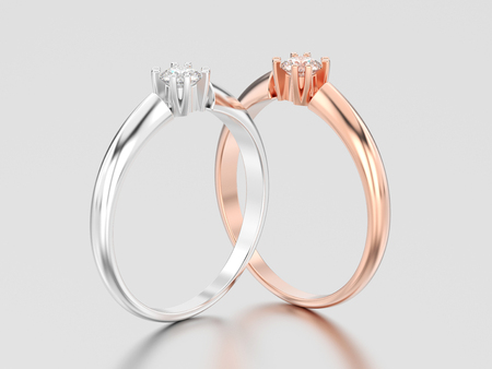 3D illustration two rose and white gold or silver engagement solitaire double prong basket diamond rings on a gray background Stock Photo