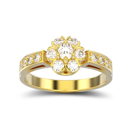 3D illustration isolated yellow gold decorative flower diamond ring with shadow on a white background