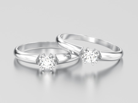 3D illustration two white gold or silver engagement solitaire double prong basket diamond rings on a gray background
