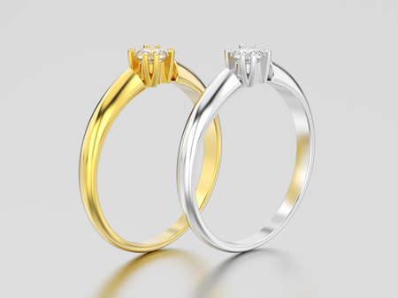 3D illustration two yellow and white gold or silver engagement solitaire double prong basket diamond rings on a gray background Stock Photo