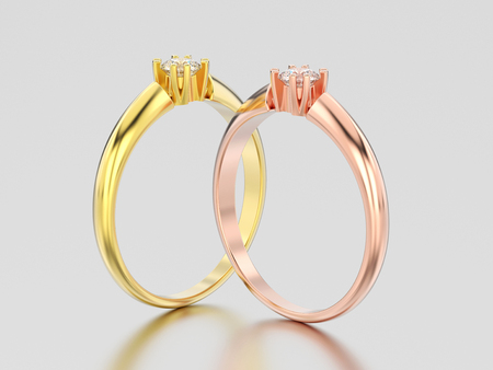 3D illustration two rose and yellow gold engagement solitaire double prong basket diamond rings on a gray background Фото со стока - 96887045