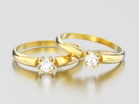 3D illustration two yellow gold engagement solitaire double prong basket diamond rings on a gray background