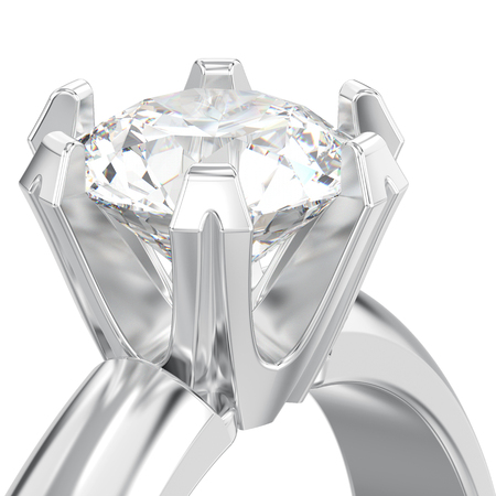 3D illustration isolated close up white gold or silver solitaire engagement diamond ring on a white background